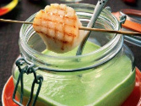 Crème Ninon med grillad pilgrimsmussla (enklare variant)