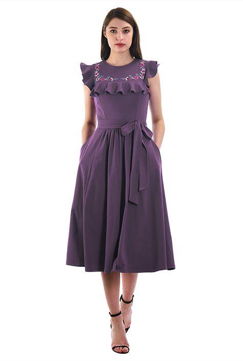 Floral embellished ruffle cotton jersey knit dress #eShakti