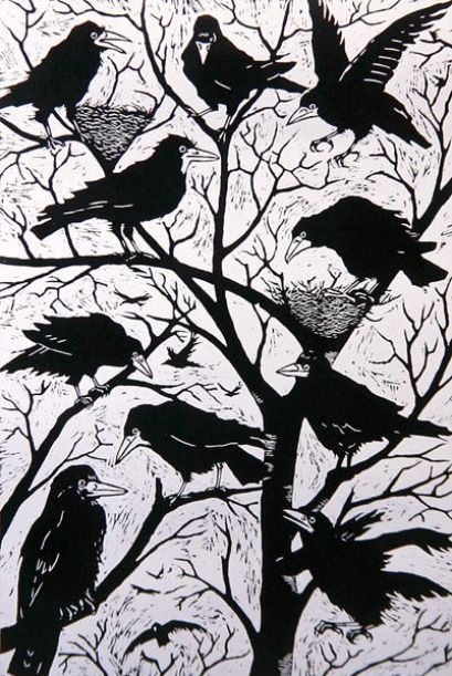 "Crows Ravens Rooks: ""#Rooks,"" #illustration (woodcut) by Nat Morley on The Bazaar."