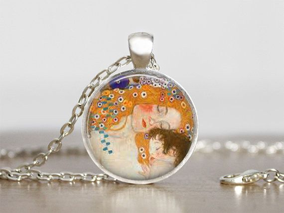 Necklaces+Jewellery+Mother+and+child+Gustav+Klimt+from+Madame+Butterfly+JEWELLERY+by+DaWanda.com
