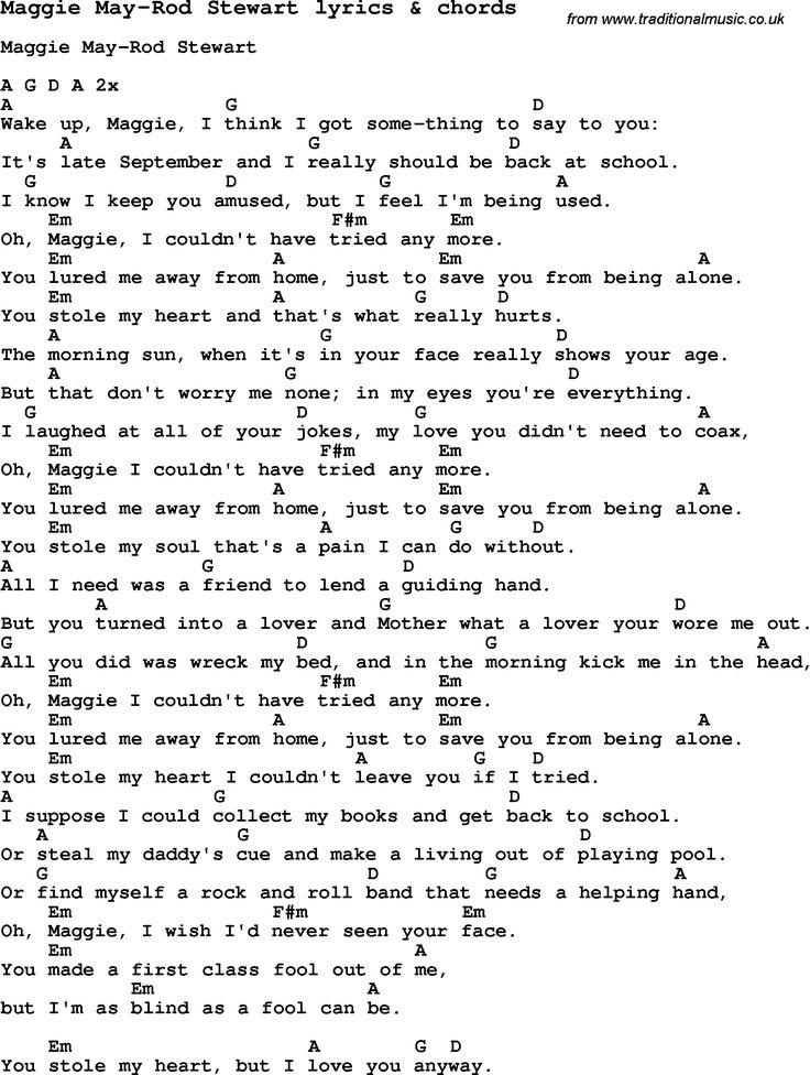 Love Song Lyrics for: Maggie May-Rod Stewart with chords for Ukulele, Guitar Banjo etc.