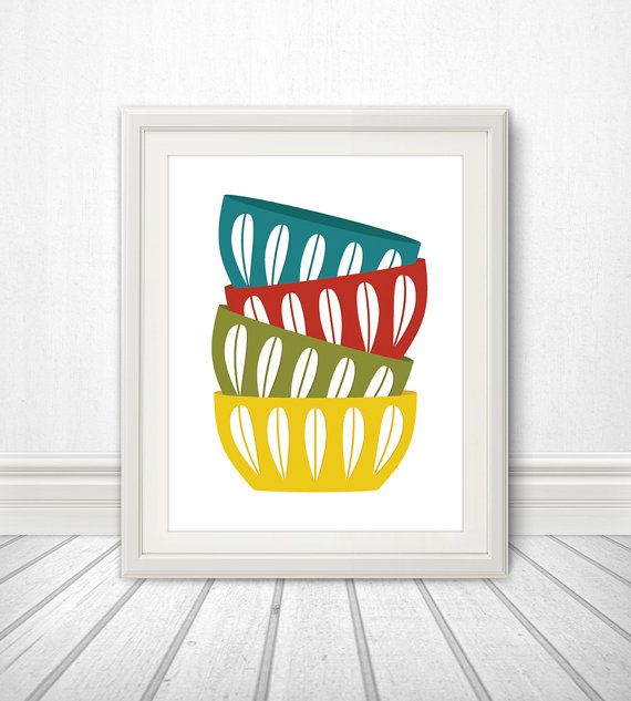 Bowls, Scandinavian Bowls, Mid Century, Stacked Bowls, Cathrineholm, Cathrineholm Print, Kitchen Print, Kitchen Poster, Kitchen Art - 8x10 on Etsy, $12.83 AUD