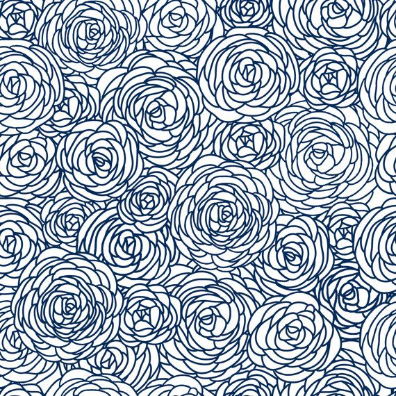 Removable Wallpaper - Blossom Print in Navy By: GailWrightatHome #removablewallpaper #wallpaper #etsy