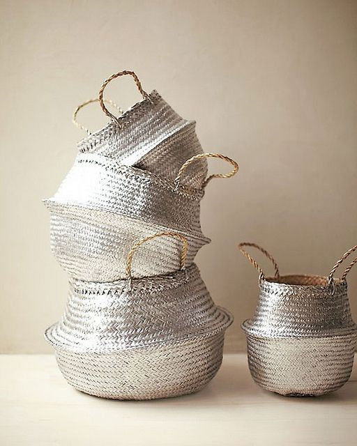 d i y: silver spray painted baskets for instant home glam: Idea, Craft, Martha Stewart, Silver Baskets, Diy