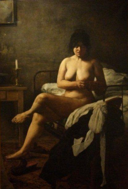 """""""El despertar de la criada"""" (""""Le lever de la bonne"""") (1887). Oleo sobre tela, 192 × 131 cm. Museo Nacional de Bellas Artes, Buenos Aires. Eduardo Sívori (1847-1919)"""