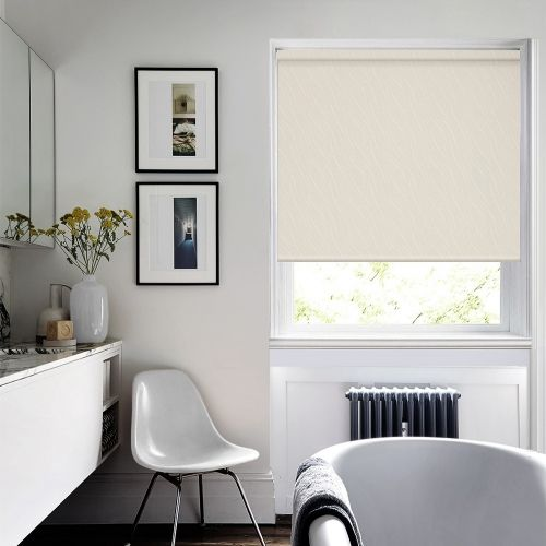 Elegant and practical patterned roller blind fabric in a lovely cream shade featuring moisture resistant and fire retardant properties