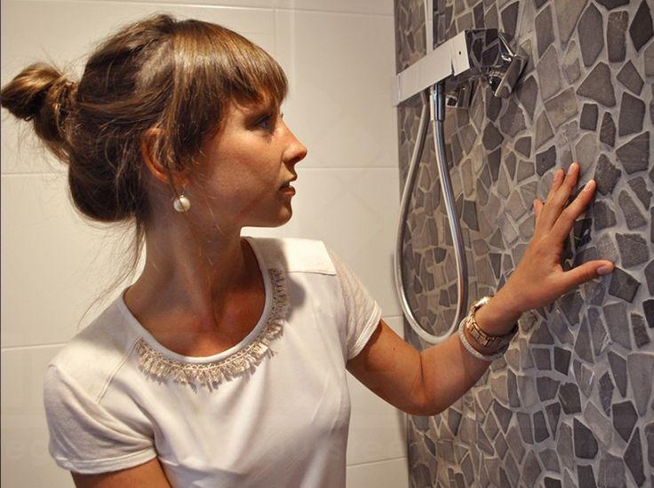 natuursteen keien, impermo, badkamer, mozaïek, mozaïek op net, badkamer wandtegel, platte keien op net