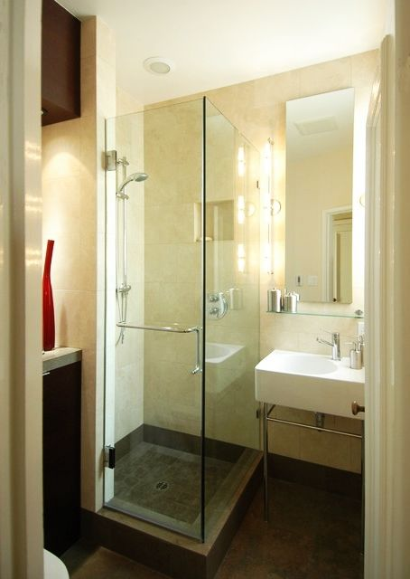 Bathroom - Amazing Glass Shower Tiny Bathroom Design Ideas With Glass Shower Room White Sink Clear Mirror Brown Wall And White Ceiling Wooden Floor: Awesome Small Bathroom Design Ideas for Your Comfortable Relaxation Time