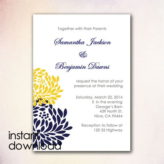 24 best DIY Wedding Invitation Templates - Instant Download images - ms word invitation templates free download