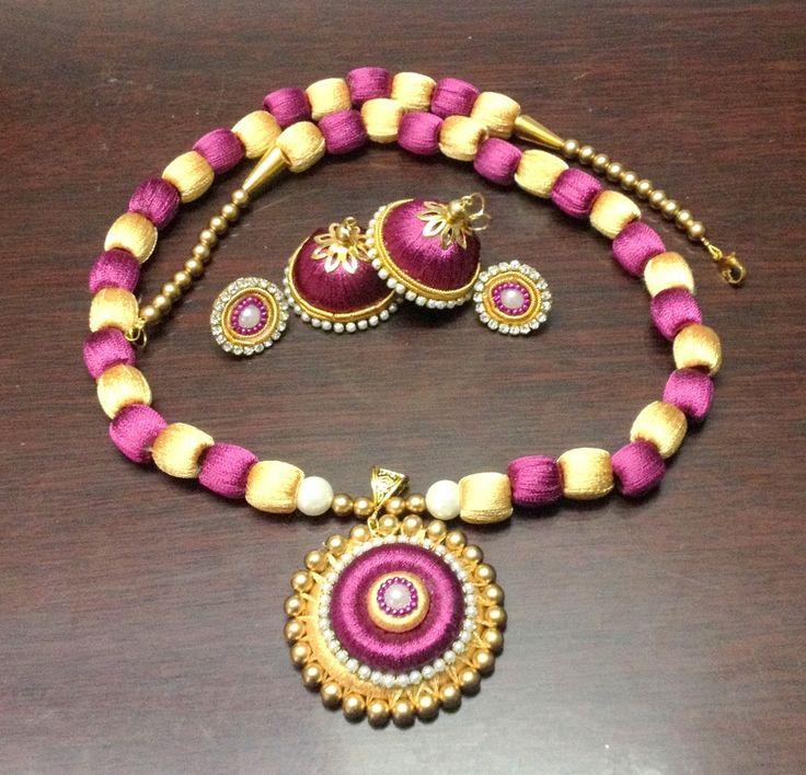 Silk Thread Long Neckpiece + Jhumka set!  whatsapp for details 9486109587 facebook.com/bypriyaVj