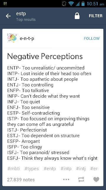 MBTI Negative Perceptions. I fall more under the ISFJ than the ISTJ on this one. I can be SO paranoid.