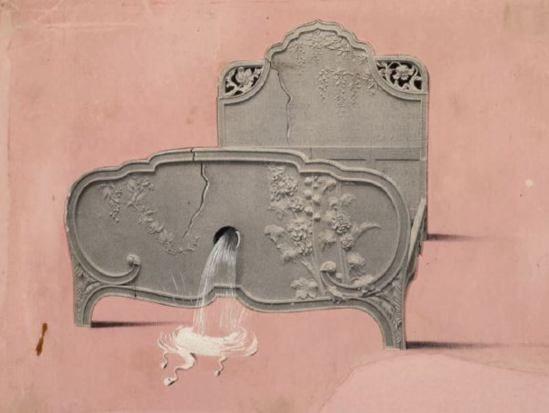 Salvador Dali. Le lit à la fontaine vers 1935-1936