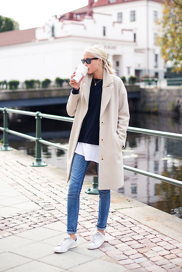 street style knit from Filippa K, tshirt from Acne, jeans from Zara and shoes from Stan Smiths.