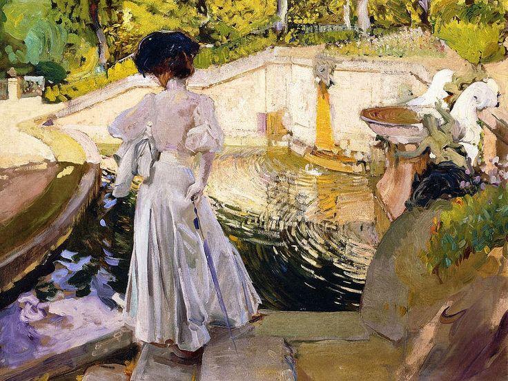 "Joaquin Sorolla y Bastida (1863 –1923)  ""Maria Watching the Fish at La Granja"""