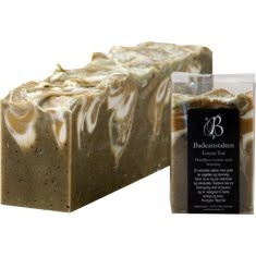 handmade soap with green tea and honey by Badeeanstalten - I love the earthy colors!