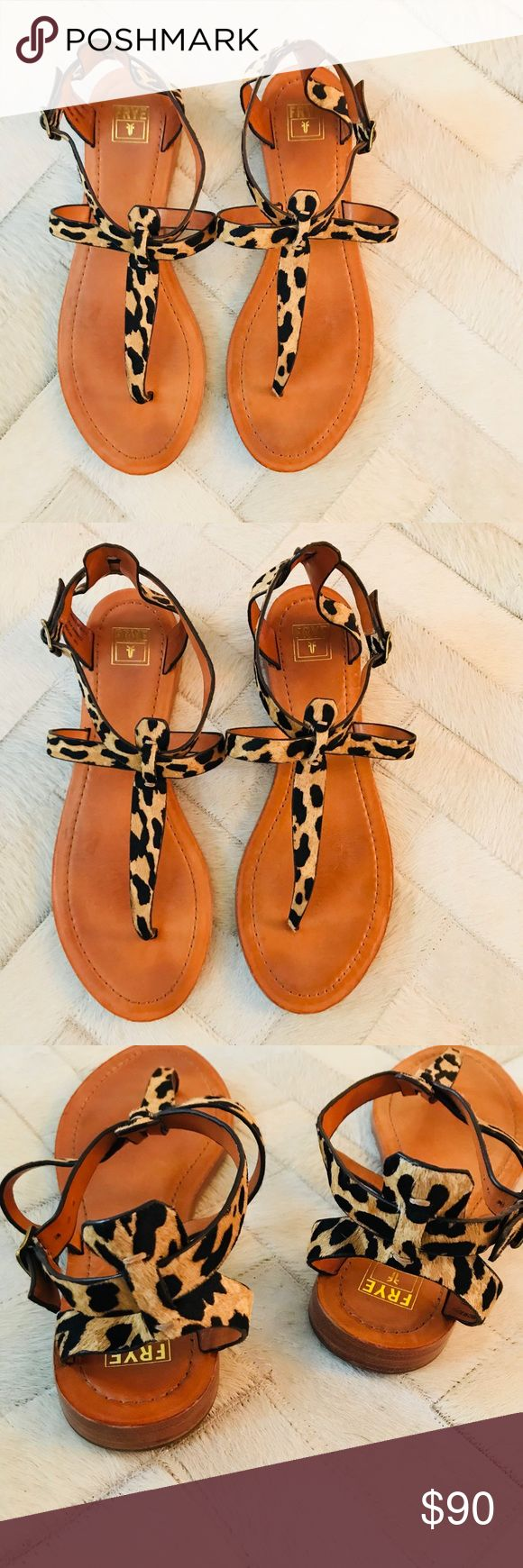 "Frye ""Rachel T"" Flat Leopard Sandal 11 LIKE NEW Worn gently only a couple times. Size 11, excellent condition. No signs of wear except light markings on bottom of soles. Smoke free home. Frye Shoes Sandals"