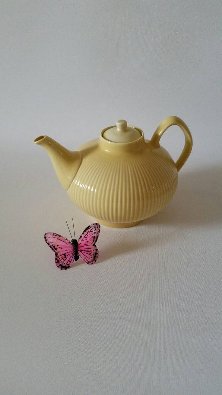 Rorstrand 'Kolorita' yellow tea pot Hertha Bengtson Swedish mid century by NordicFiesta on Etsy