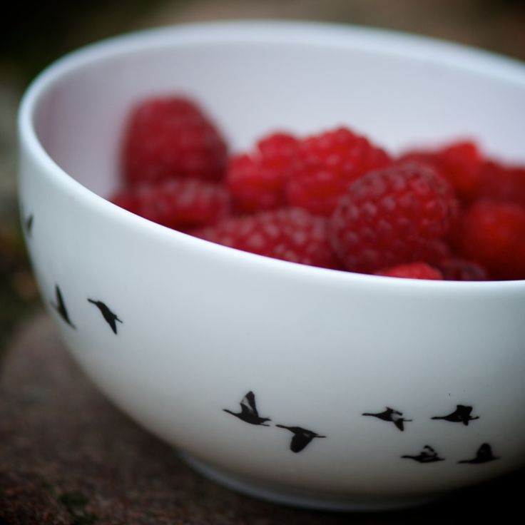 Fresh delicious raspberries from our garden in the Little Birds Bowl...