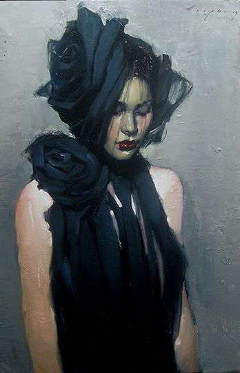 Malcolm T. Liepke, Behind The Veil (Dietro al Velo), oil on canvas