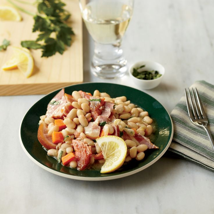 Warm White Bean Salad with Smoked Trout | Food & Wine  Cut time by either soaking beans day before (if no pressure cooker) or using canned beans