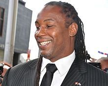 Real name Lennox Claudius Lewis Nickname(s) The Lion Rated at Heavyweight Height 6 feet 5 inches (1.96 m) Reach 84 inches (213 cm) Nationality British[1] Canadian Born September 2, 1965 (age 49) West Ham, London, England Stance Orthodox Boxing record Total fights 44 Wins 41 Wins by KO 32 Losses 2 Draws 1 No contests 0