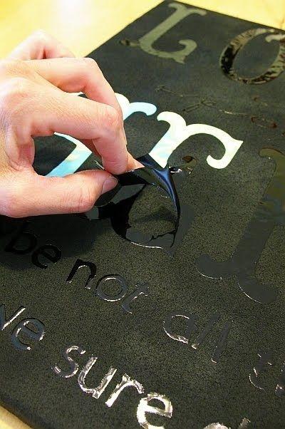 diy stick letters on a mirror spray paint over it peel off letters and