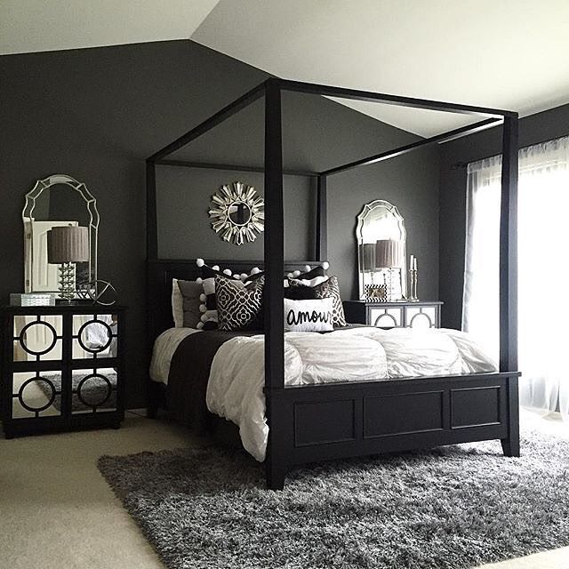 Use Dramatic Dark Hues In The Master Bedroom For A Cozy Winter Style!  #MakeHomeYours
