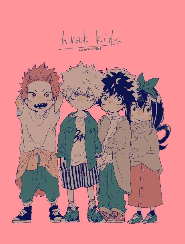 Boku no Hero Academia    Kirishima Eijirou, Katsuki Bakugou, Midoriya Izuku, Tsuyu Asui.
