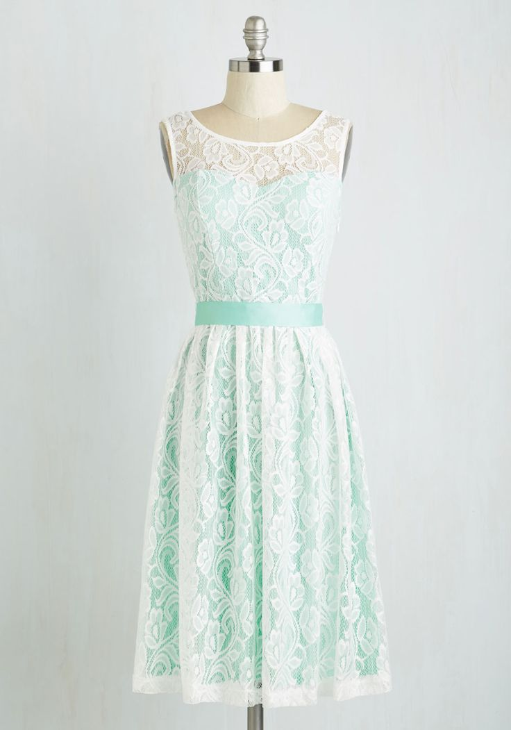 Lacy in Love Dress in Mint. Such a funny thing for you to try to explain - but this mint-green, ModCloth-exclusive frock just makes your heart swoon. #wedding #bridesmaid #modcloth