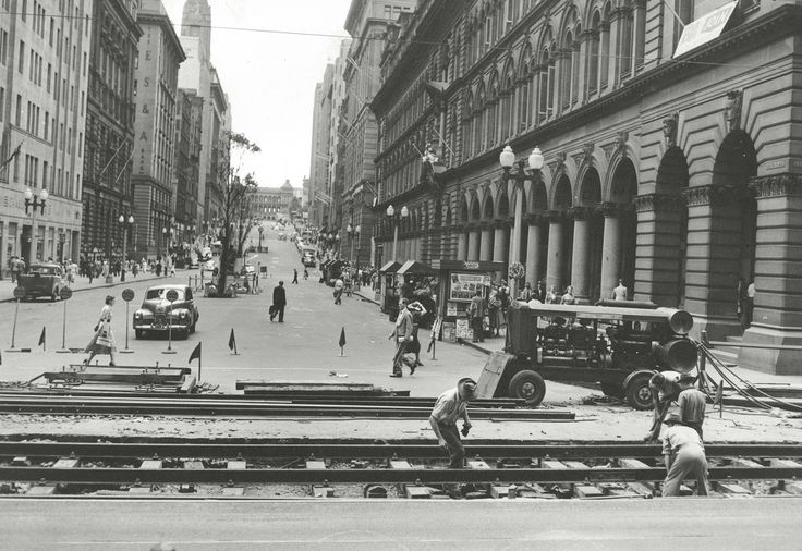 Laying down tram tracks | by State Records NSW