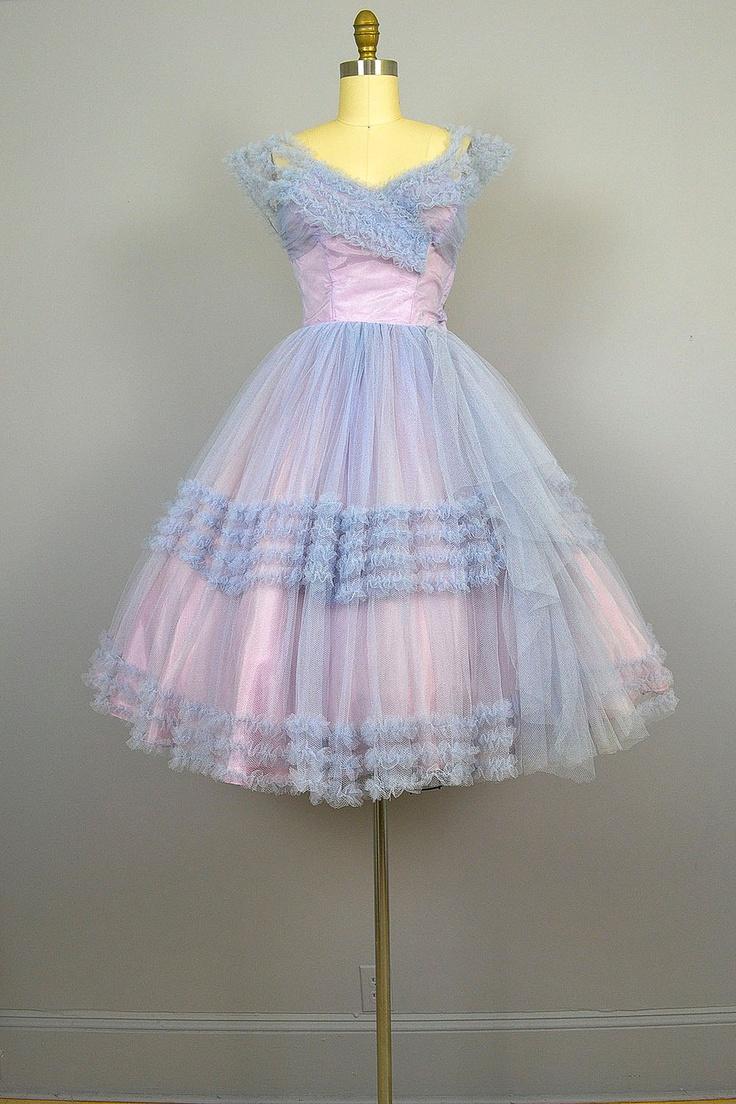 SALE... 1950s Prom Dress .  50s Party Dress .  Lavender .  Tulle .  Ruffles .  Full Skirt. $196.00, via Etsy.