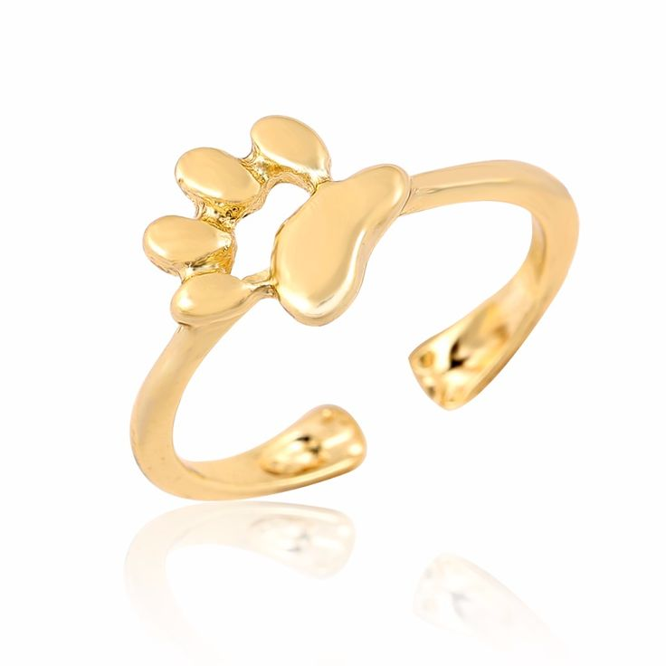 New Fashion Animal Jewelry Cat Paw Print rings for women Open Dog paw ring female Party Gifts JZ176
