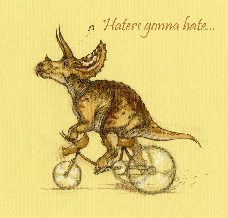 """Haters Gonna Hate"" triceratops illustration (via @Himmapaan on Twitter) #triceratops #dinosaur #illustration #art"