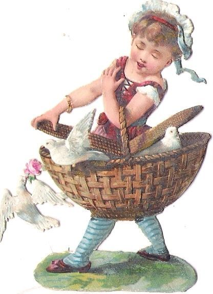 Oblaten Glanzbild scrap die cut  chromo Kind child Taube dove pigeon Korb basket