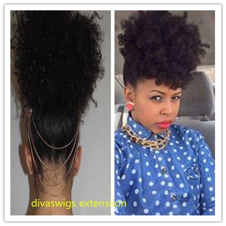 """Kinky Curly Ponytail Natural Human Virgin Hair Ponytail Afro Ponytail 10""""-16"""" Pony Tail Afro Puff Curly Ponytail Hair Extensions#kinky curly ponytail"""