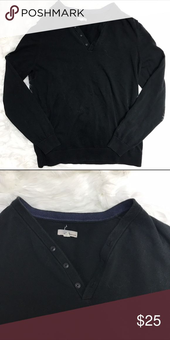 "Public Opinion V-Neck Button Long Sleeve Sweater Size XXL Public Opinion men's button v-neck long-sleeve sweater in black.EUC. 100% cotton. Measures 22.5"" armpit to armpit laying flat and 28"" shoulder to hem Public Opinion Sweaters V-Neck"