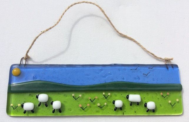 Fused Glass Picture Suncatcher Sheep Summer Field Design  £20.00