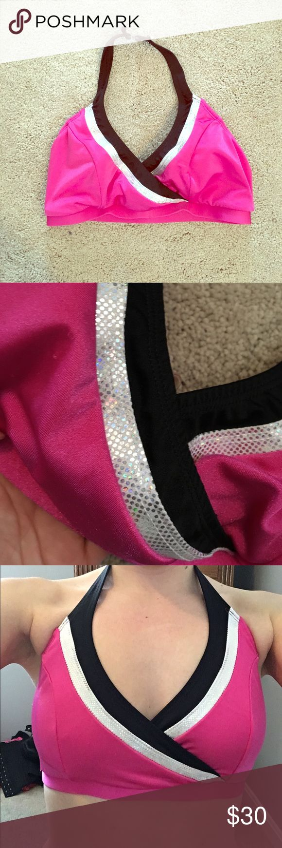 Pink and Silver Line Up Sports Bra This is a super cute and comfortable sports bra! Great quality! Never been worn! It is a size Medium. My chest size is a 34C and it fits me very good! The Line Up Intimates & Sleepwear Bras