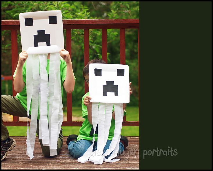 Minecraft ghasts made from square paper plates, with crepe ...