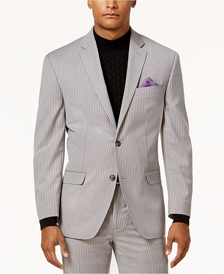 Sean John Men's Classic-Fit Stretch Gray Pinstripe Suit Jacket