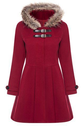 red coat with faux fur