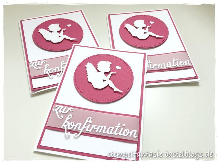 Stampin' Up!, Stempelfantasie, Karte, Konfirmation, Kommunion, Engel, sitzender Engel, Alexandra Renke, Rosenrot, Basteln mit Papier, Selbermachen