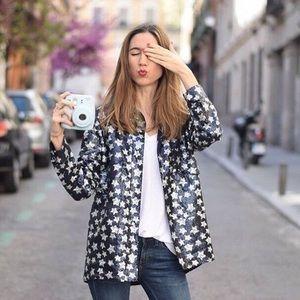 Zara Jackets & Coats - Zara Blue & Silver Sequin Button Down Jacket
