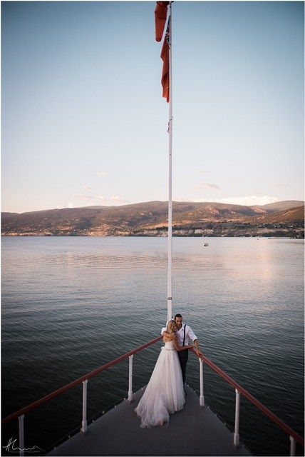 Photographer: Holly Louwerse. Ceremony Location: Bow of the SS Sicamous Stern Wheeler,  Reception Location: Dining Saloon on the ship. Find us on the beach in Penticton (South Okanagan, BC, Canada)