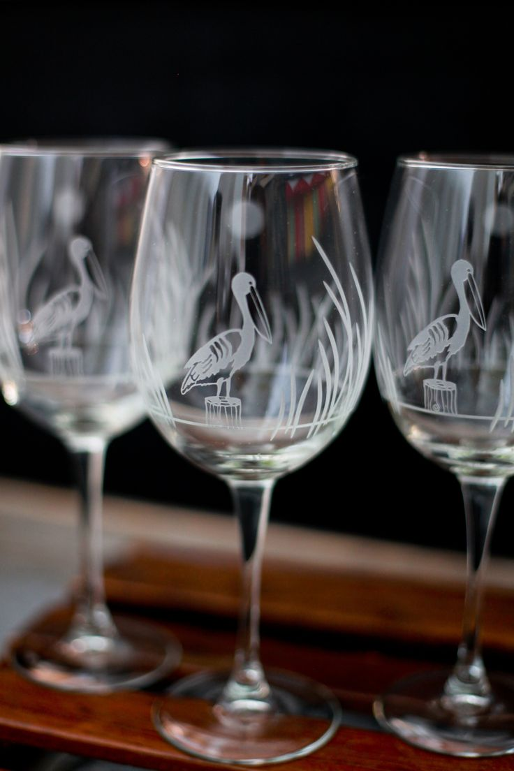 Set of 4 Wine glasses etched with Pelican scene. | Gift ...