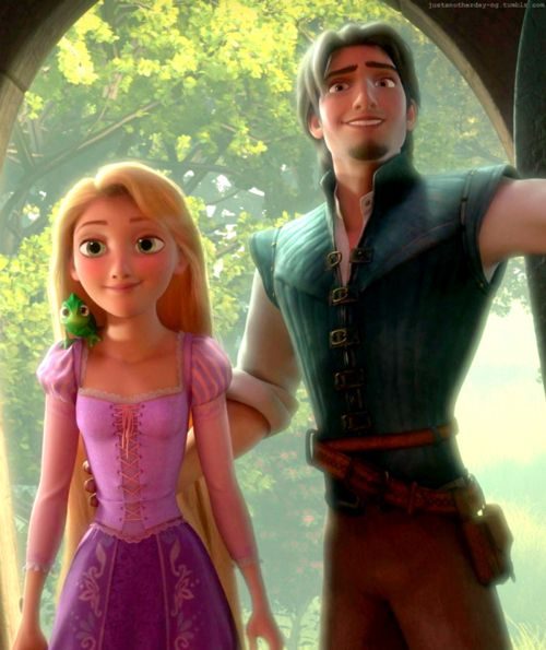 Rapunzel and Flynn -- I love how his hand is around her waist. It's like he's protecting her subconsciously.