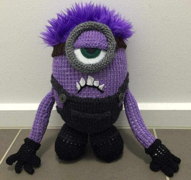 A personal favourite from my Etsy shop https://www.etsy.com/au/listing/293353907/crazy-purple-minion-knitting-pattern-pdf