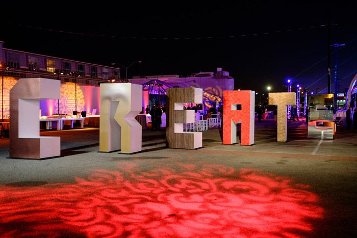 Oversize letters at the entrance spelled out a main theme of the evening, as well as the conference. Photo: Daniel Sofer/hermosawave.net: