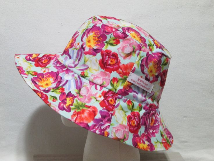 """Floral Bucket Hat 23"""" Large Purple, Pink, and Yellow flowers, with pink Madras by SEWDesigns13 on Etsy"""