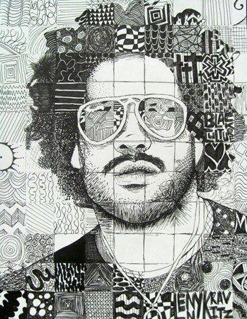 Pen & Ink Doodle Portraits - Conway High School Art Project